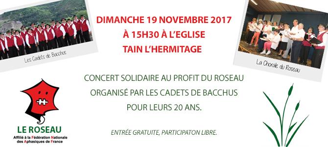 Concert solidaire au profit du Roseau avec Les Cadets de Bacchus