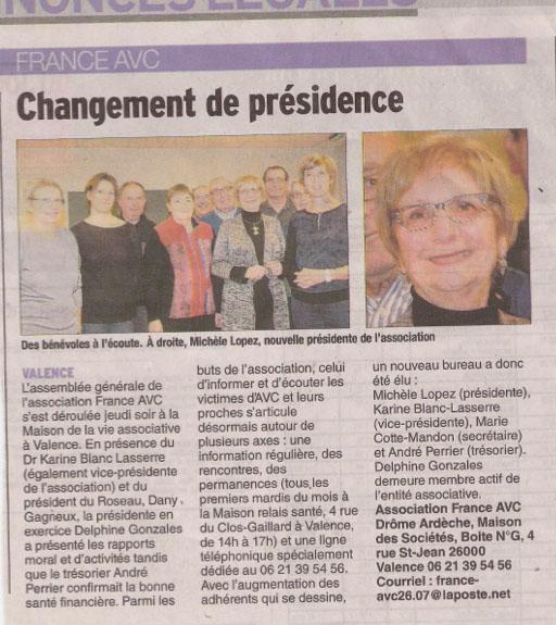 France AVC change de présidence
