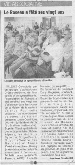 article paru dans la dauphiné libéré suite aux 20 ans du Roseau