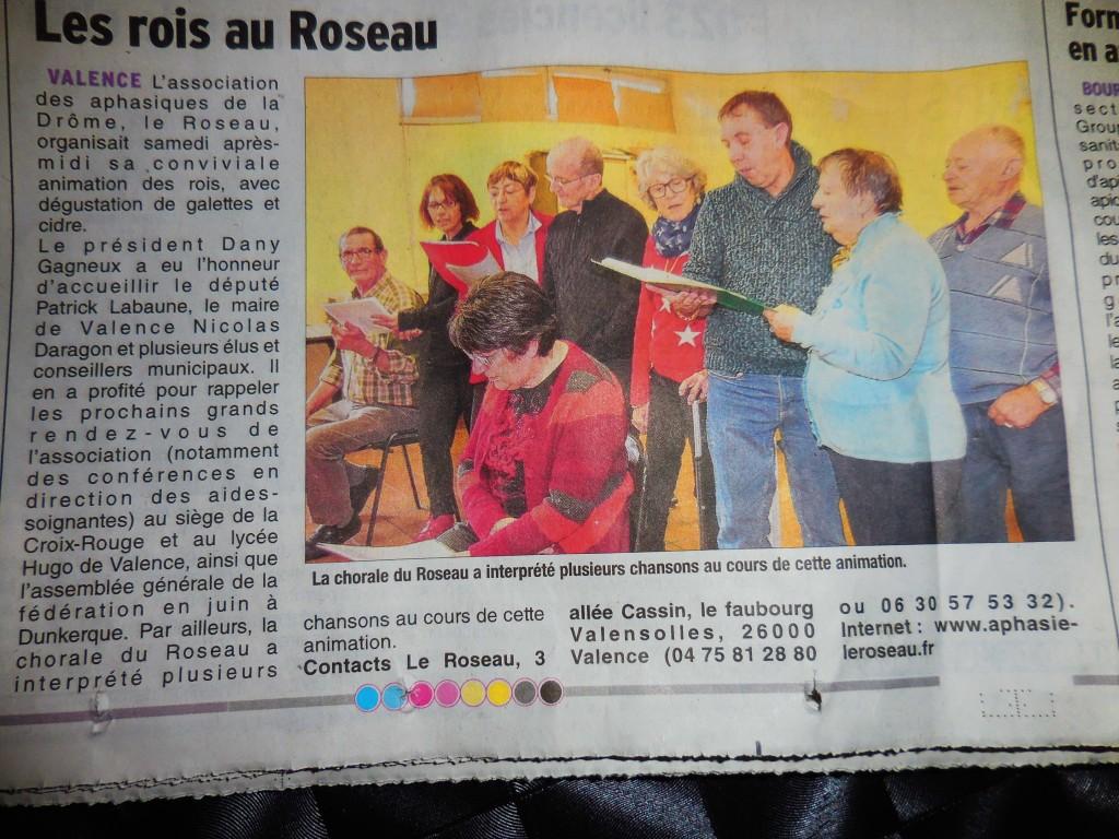 article paru dans le Dauphiné sur la journée épiphanie organisée par le roseau