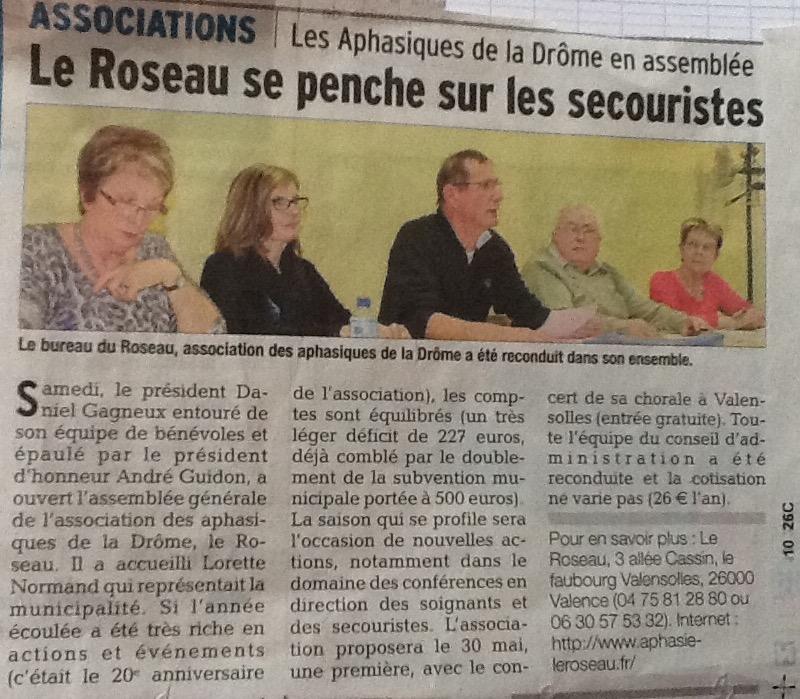 article paru dans le Dauphiné le 24 mars 2015