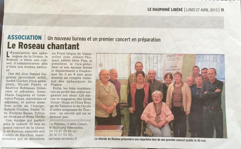 Article paru dans le Dauphiné Libéré le 27 avril 2015