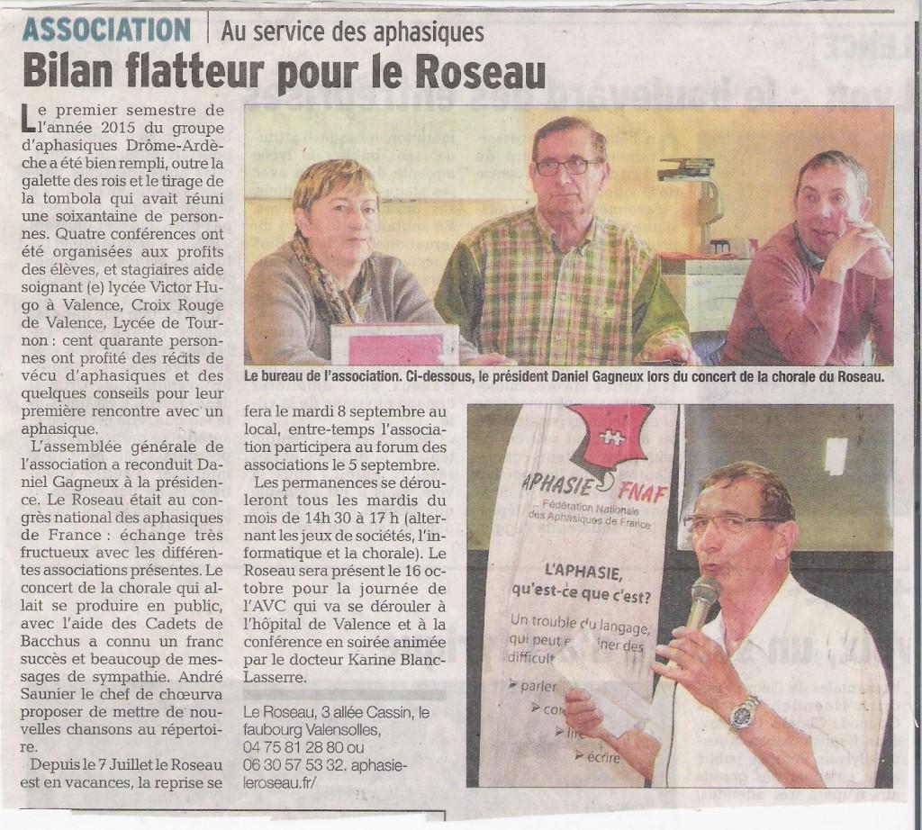 Article de presse paru dans le Dauphine Libéré le 2 août 2015