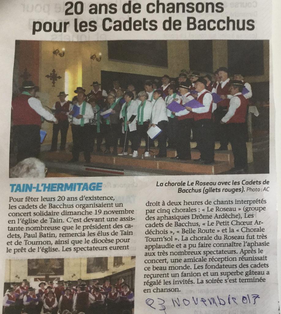 Article paru dans le Journal Le Dauphiné Libéré après le concert avec les Cadets de Bacchus
