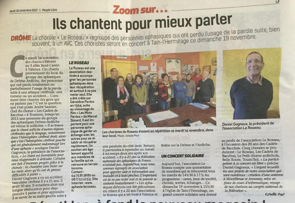Article paru dans le Dauphiné Libéré le 18 novembre au sujet de la Chorale du Roseau