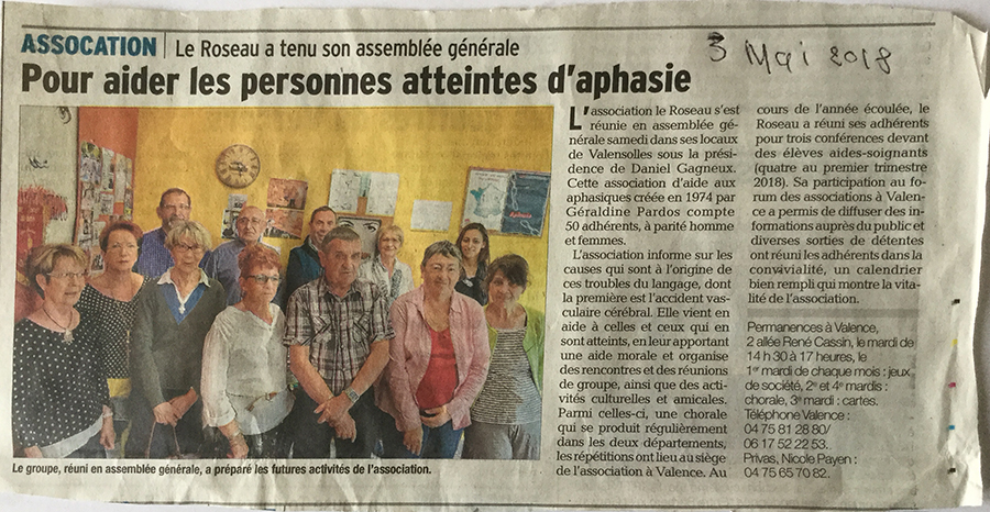 Article paru dans le Dauphiné Libéré le 3 mai 2018 suite à l'Assemblée Générale