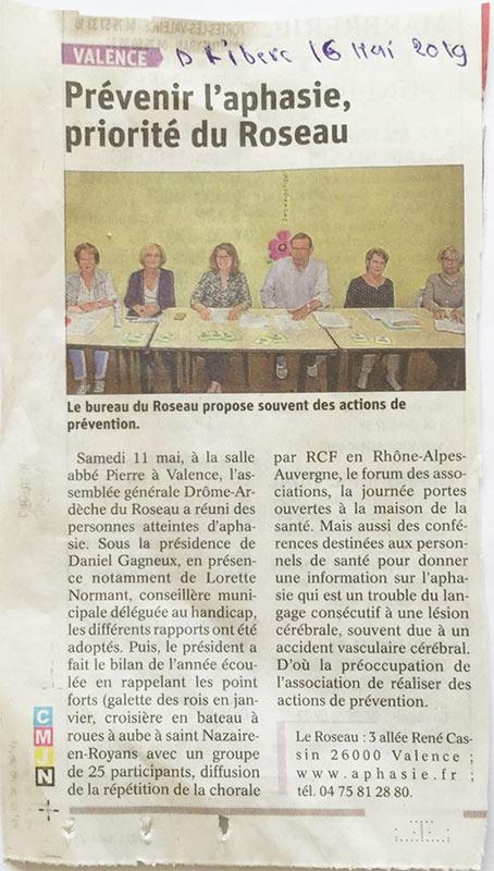 Article Dauphiné Libéré du 16 mai 2019 - Le Roseau Aphasie