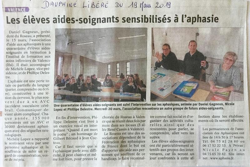 Article Dauphiné Libéré du 19 mars 2019 - Le Roseau Aphasie